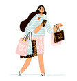 cute girl on shopping with a lot paper bags vector image