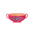 cute pottery bowl with pretty ornament color card vector image