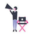 director holding megaphone production movie film vector image