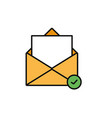 email message check internet flat line style vector image