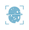 fingerprint scanning linear icon concept vector image vector image