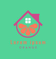 fruit house logo template design orange house vector image