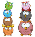 funny Owl cartoon group vector image vector image