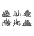 hand drawn of castle on white vector image vector image