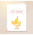 Happy Birthday postcard template with a bird vector image vector image