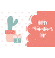 happy valentines day potted cactus gift hearts vector image