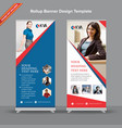 hexagonal blue and red rollup banner vector image vector image