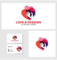 love passion logo template with business card vector image