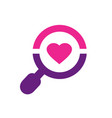 magnify glass and heart shape love symbol vector image vector image