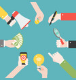many different business hands with different vector image vector image