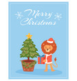 merry christmas card with funny lion in red santa vector image