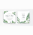 modern minimalist style leafy wedding invitation vector image
