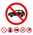 no cars sign on white background vector image vector image