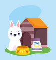 pet shop white dog food bowl pack and house vector image vector image