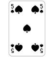 Poker playing card 5 spade vector image