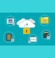 protected data cloud concept background flat vector image