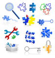 Puzzle icons and elements vector image vector image