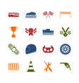 racing sport color icons set vector image vector image
