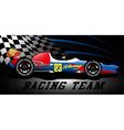 Racing team open wheel race car under a spotlight vector image vector image