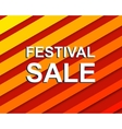 Red striped sale poster with FESTIVAL SALE text vector image vector image