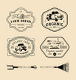 retro set farm fresh logotypes vintage vector image