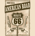 route 66 poster in vintage style vector image vector image
