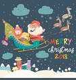 santa claus and kids with reindeer sleigh vector image vector image