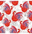 Seamless pattern with color fire cock on line art vector image vector image