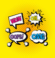 set chat bubbles with pop art messages vector image