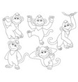 set cute cartoon monkeys vector image vector image
