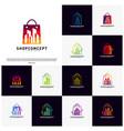 set of fashion city logo concept shopping center vector image vector image