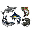 set of fish in colored vector image vector image