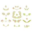 Set of floral graphic design elements vector image