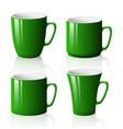 set of green cups isolated on white background vector image vector image