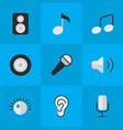 set of simple melody icons vector image vector image