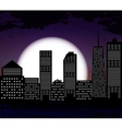 Silhouette of Big City on Background of White Moon vector image