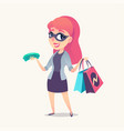 smiling redhead woman as mystery shopper in mask vector image vector image