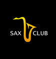 style logo for sax club golden saxophone vector image vector image