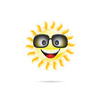 sun cartoon with sunglasses one vector image vector image