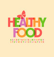 trendy logo healthy food colorful font vector image