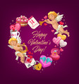 valentine day love heart with gifts greeting card vector image vector image