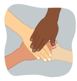 young people putting their hands on top vector image vector image