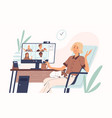 young woman having videoconference with colleagues vector image vector image