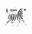 zebra hand drawn poster vector image vector image