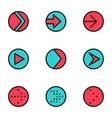 flat color line arrow circle icons set vector image