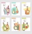 hand drawn bottles alcoholic menu design wine vector image