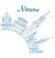 Outline Moscow Skyline with Blue Landmarks vector image