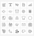 25 universal line icons for web and mobile vector image vector image