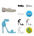 a variety of shoes cartoonblackflatmonochrome vector image