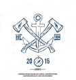Anchor with crossed axes Design elements T-shirt vector image